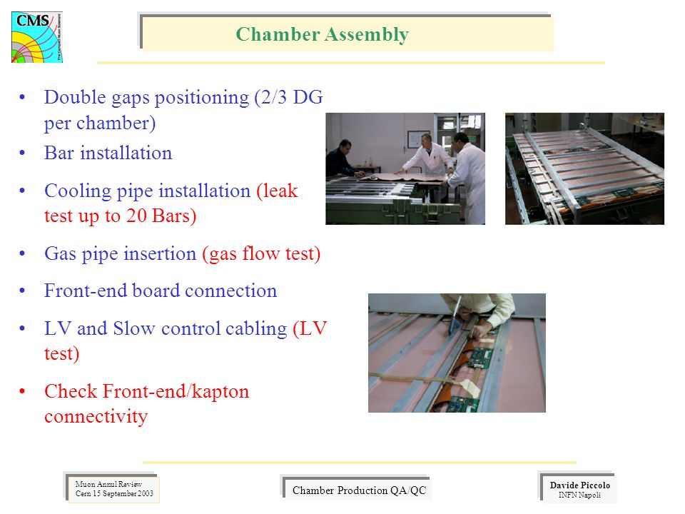 Davide Piccolo INFN Napoli Muon Annul Review Cern 15 September 2003 Chamber Production QA/QC Double gaps positioning (2/3 DG per chamber) Bar installation Cooling pipe installation (leak test up to 20 Bars) Gas pipe insertion (gas flow test) Front-end board connection LV and Slow control cabling (LV test) Check Front-end/kapton connectivity Chamber Assembly