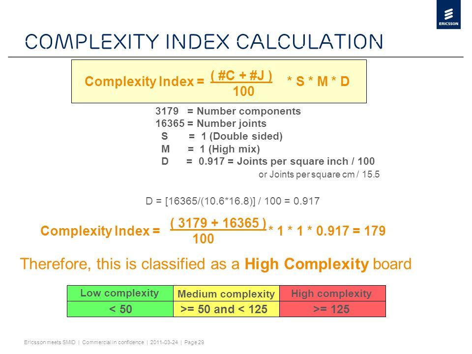 Slide title minimum 32 pt (32 pt makes 2 rows Text and bullet level 1 minimum 24 pt Bullets level 2-5 minimum 20 pt ! #$%& ()*+,-./0123456789:; @ABCDEFGHIJKLMNOPQRST UVWXYZ[\]^_`abcdefghijklmnopqrstuvwxy z{|}~¡¢£¤¥¦§¨©ª«¬®¯°±²³´¶·¸¹º»¼½ÀÁÂÃÄÅÆÇÈËÌÍ ÎÏÐÑÒÓÔÕÖ×ØÙÚÛÜÝÞßàáâãäåæçèéêëìíîïðñ òóôõö÷øùúûüýþÿĀāĂăąĆćĊċČĎďĐđĒĖėĘęĚ ěĞğĠġĢģĪīĮįİıĶķĹĺĻļĽľŁłŃńŅņŇňŌŐőŒœŔŕŖŗ ŘřŚśŞşŠšŢţŤťŪūŮůŰűŲųŴŵŶŷŸŹźŻżŽžƒȘșˆˇ˘ ˙˚˛˜˝–… ĀĀĂĂĄĄĆĆĊĊČČĎĎĐĐĒĒĖĖĘĘĚĚĞĞĠĠĢĢĪĪĮĮİĶĶĹ ĹĻĻĽĽŃŃŅŅŇŇŌŌŐŐŔŔŖŖŘŘŚŚŞŞŢŢŤŤŪŪŮŮŰŰ ŲŲŴŴŶŶŹŹŻŻȘș ΆΈΉΊΌΎΏΐΑΒΓΕΖΗΘΙΚΛΜΝΞΟΠΡΣΤΥΦΧΨΪΫΆΈΉΊ ΰαβγδεζηθικλνξορςΣΤΥΦΧΨΩΪΫΌΎΏ ЁЂЃЄЅІЇЈЉЊЋЌЎЏАБВГДЕЖЗИЙКЛМНОПРСТУФХ ЦЧШЩЪЫЬЭЮЯАБВГДЕЖЗИЙКЛМНОПРСТУФХЦ ЧШЩЪЫЬЭЮЯЁЂЃЄЅІЇЈЉЊЋЌЎЏ ѢѢѲѲѴѴ ҐҐәǽ Do not add objects or text in the footer area Ericsson meets SMID | Commercial in confidence | 2011-03-24 | Page 29 Complexity index calculation 3179 = Number components 16365 = Number joints S = 1 (Double sided) M = 1 (High mix) D = 0.917 = Joints per square inch / 100 or Joints per square cm / 15.5 Low complexity Medium complexity High complexity < 50 >= 50 and < 125>= 125 D = [16365/(10.6*16.8)] / 100 = 0.917 Complexity Index = * S * M * D ( #C + #J ) 100 Complexity Index = * 1 * 1 * 0.917 = 179 ( 3179 + 16365 ) 100 Therefore, this is classified as a High Complexity board