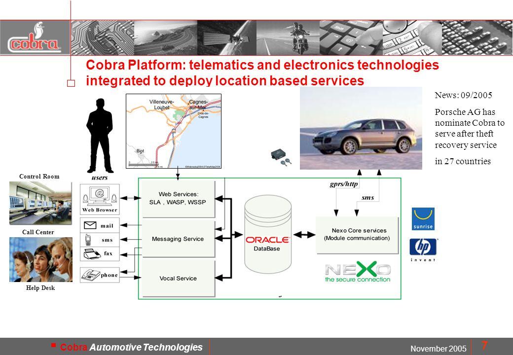 MOD. FMD1402 November 2005 Cobra Automotive Technologies 7 Cobra Platform: telematics and electronics technologies integrated to deploy location based