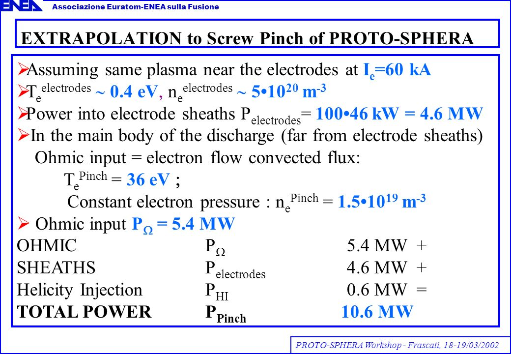 EXTRAPOLATION to Screw Pinch of PROTO-SPHERA Assuming same plasma near the electrodes at I e =60 kA T e electrodes 0.4 eV, n e electrodes 510 20 m -3 Power into electrode sheaths P electrodes = 10046 kW = 4.6 MW In the main body of the discharge (far from electrode sheaths) Ohmic input = electron flow convected flux: T e Pinch = 36 eV Constant electron pressure : n e Pinch = 1.510 19 m -3 Ohmic input P = 5.4 MW OHMICP 5.4 MW + SHEATHSP electrodes 4.6 MW + Helicity InjectionP HI 0.6 MW = TOTAL POWERP Pinch 10.6 MW PROTO-SPHERA Workshop - Frascati, 18-19/03/2002 Associazione Euratom-ENEA sulla Fusione