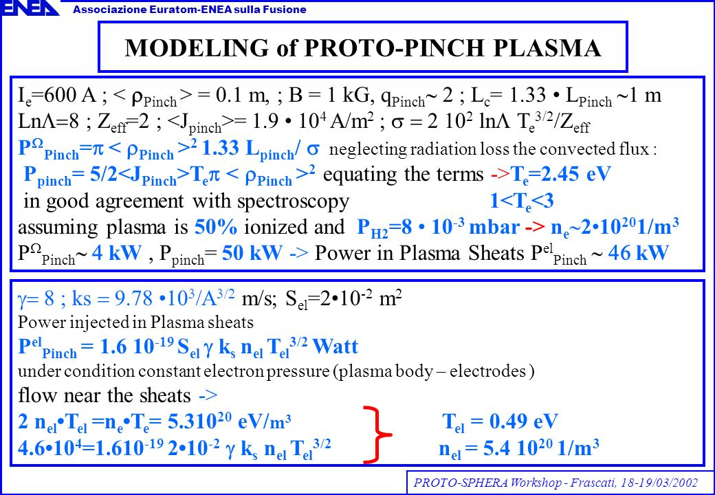 MODELING of PROTO-PINCH PLASMA Associazione Euratom-ENEA sulla Fusione PROTO-SPHERA Workshop - Frascati, 18-19/03/2002 I e =600 A ; = 0.1 m, ; B = 1 kG, q Pinch 2 ; L c = 1.33 L Pinch m Ln Z eff =2 ; = 1.9 10 4 A/m 2 ; 2 10 2 ln T e 3/2 /Z eff P Pinch = 2 1.33 L pinch / neglecting radiation loss the convected flux : P pinch = 5/2 T e 2 equating the terms ->T e =2.45 eV in good agreement with spectroscopy 1 n e 210 20 1/m 3 P Pinch kW, P pinch = 50 kW -> Power in Plasma Sheats P el Pinch kW ks m/s; S el =210 -2 m 2 Power injected in Plasma sheats P el Pinch = 1.6 10 -19 S el k s n el T el 3/2 Watt under condition constant electron pressure (plasma body – electrodes ) flow near the sheats -> 2 n elT el =n eT e = 5.310 20 eV/ m 3 T el = 0.49 eV 4.610 4 =1.610 -19 210 -2 k s n el T el 3/2 n el = 5.4 10 20 1/m 3