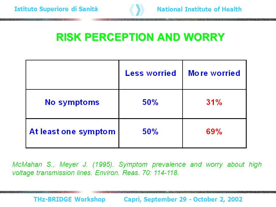 THz-BRIDGE Workshop Capri, September 29 - October 2, 2002 Istituto Superiore di Sanità National Institute of Health RISK PERCEPTION AND WORRY McMahan S., Meyer J.