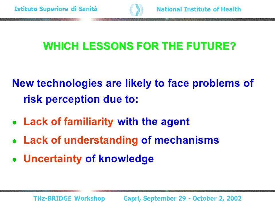 THz-BRIDGE Workshop Capri, September 29 - October 2, 2002 Istituto Superiore di Sanità National Institute of Health WHICH LESSONS FOR THE FUTURE.