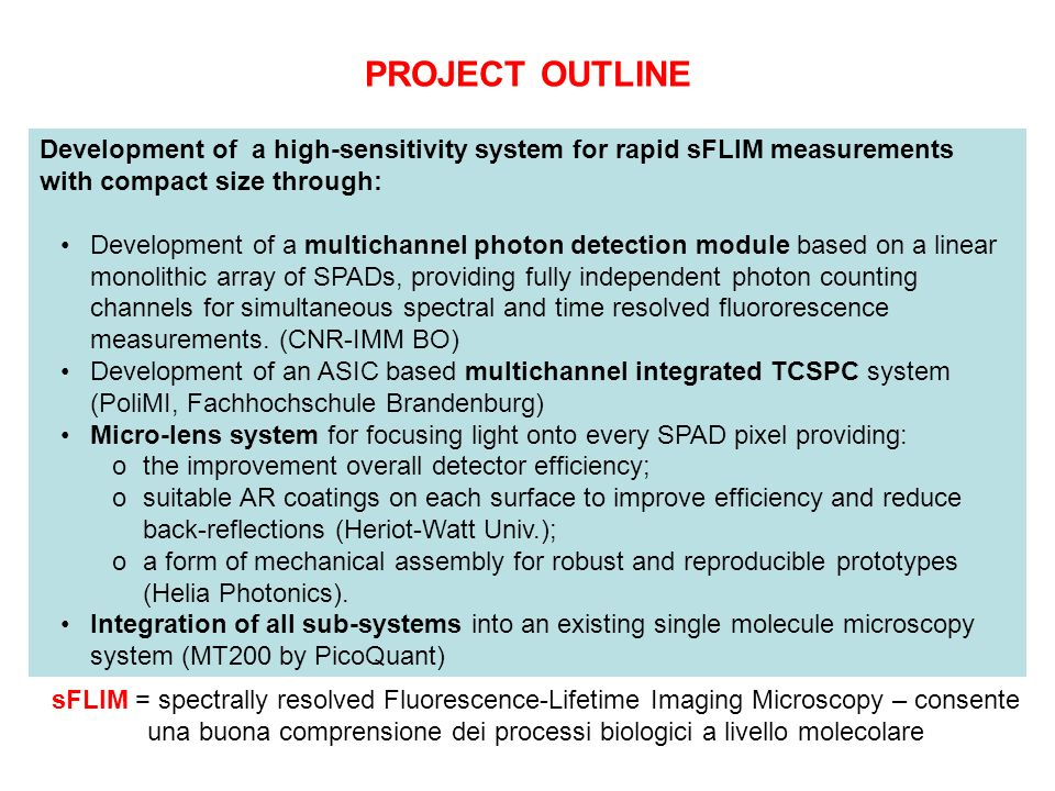 PROJECT OUTLINE Development of a high-sensitivity system for rapid sFLIM measurements with compact size through: Development of a multichannel photon