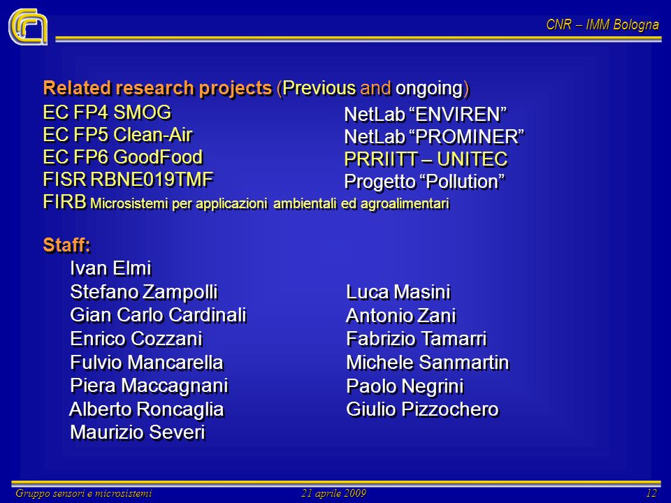 CNR – IMM Bologna Gruppo sensori e microsistemi21 aprile 200912 Related research projects (Previous and ongoing) EC FP4 SMOG EC FP5 Clean-Air EC FP6 G