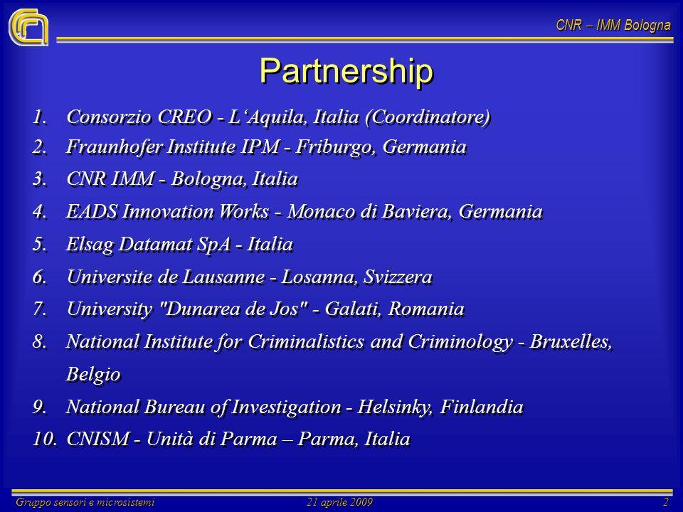 CNR – IMM Bologna Gruppo sensori e microsistemi21 aprile 20092 Partnership 1. 1.Consorzio CREO - LAquila, Italia (Coordinatore) 2. 2.Fraunhofer Instit