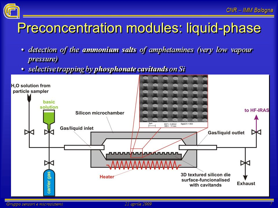 CNR – IMM Bologna Gruppo sensori e microsistemi21 aprile 20097 Preconcentration modules: liquid-phase detection of the ammonium salts of amphetamines (very low vapour pressure)detection of the ammonium salts of amphetamines (very low vapour pressure) selective trapping by phosphonate cavitands on Siselective trapping by phosphonate cavitands on Si detection of the ammonium salts of amphetamines (very low vapour pressure)detection of the ammonium salts of amphetamines (very low vapour pressure) selective trapping by phosphonate cavitands on Siselective trapping by phosphonate cavitands on Si