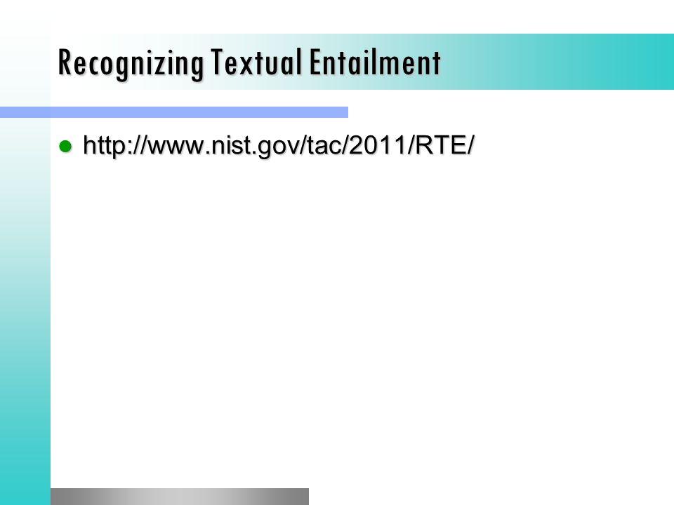 Recognizing Textual Entailment http://www.nist.gov/tac/2011/RTE/ http://www.nist.gov/tac/2011/RTE/