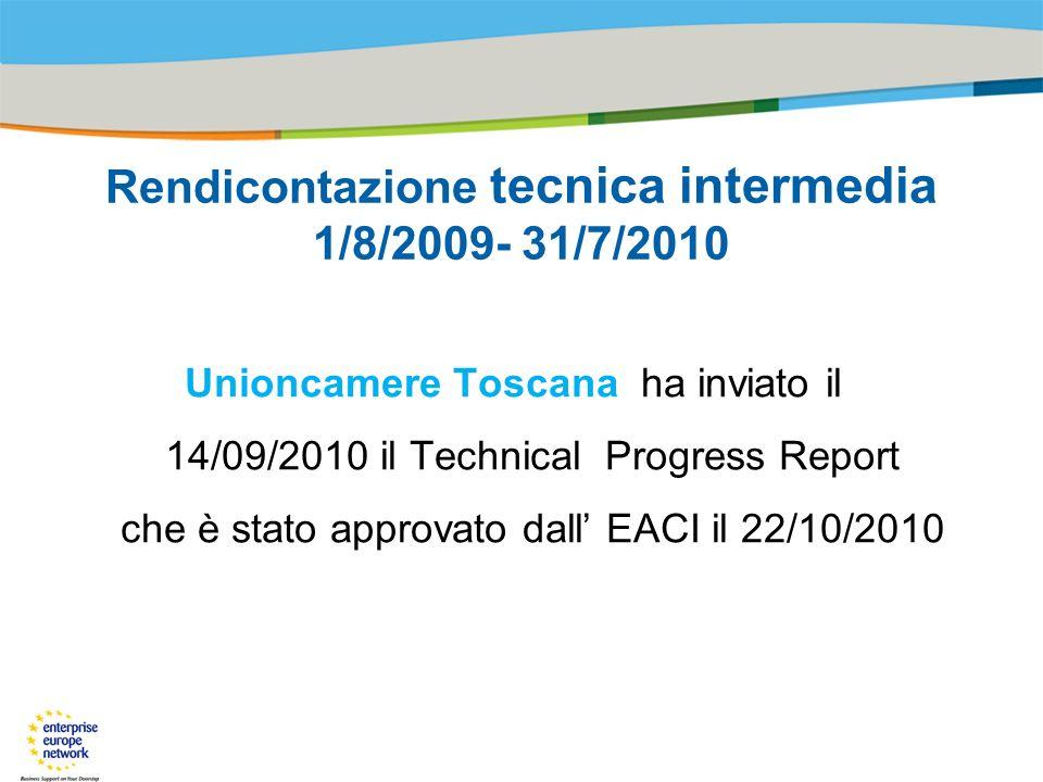 Title of the presentation | Date |# Rendicontazione tecnica intermedia 1/8/2009- 31/7/2010 Unioncamere Toscana ha inviato il 14/09/2010 il Technical Progress Report che è stato approvato dall EACI il 22/10/2010