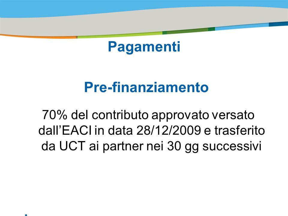 Title of the presentation | Date |# Pagamenti Pre-finanziamento 70% del contributo approvato versato dallEACI in data 28/12/2009 e trasferito da UCT ai partner nei 30 gg successivi