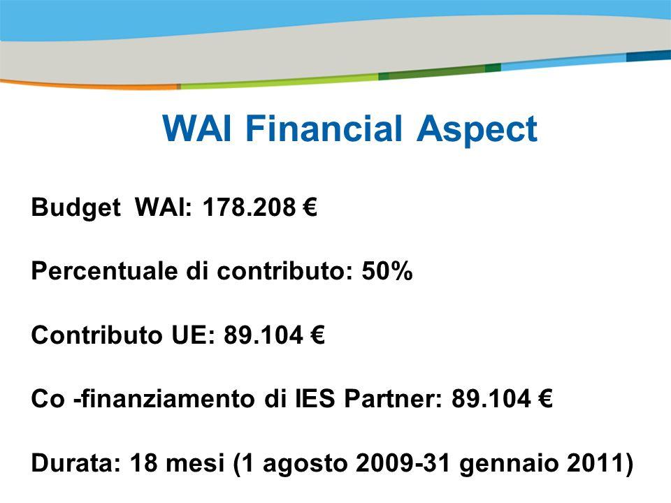Title of the presentation | Date |# WAI Financial Aspect Budget WAI: 178.208 Percentuale di contributo: 50% Contributo UE: 89.104 Co -finanziamento di IES Partner: 89.104 Durata: 18 mesi (1 agosto 2009-31 gennaio 2011)