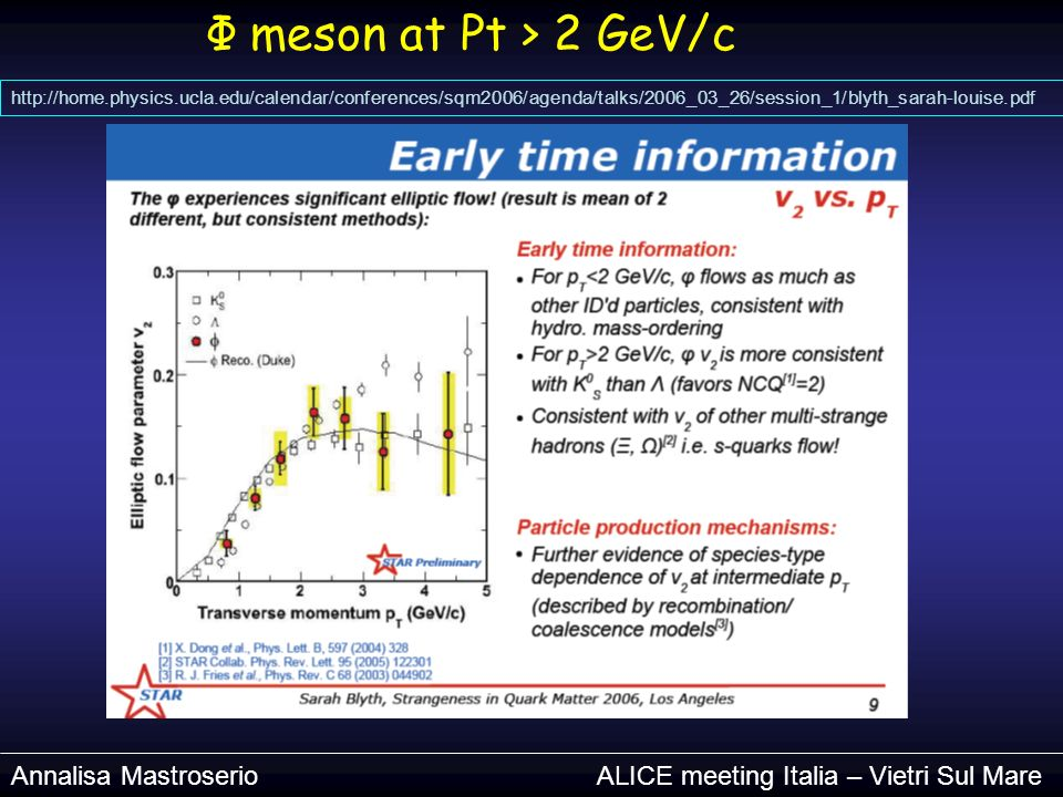 Φ meson at Pt > 2 GeV/c http://home.physics.ucla.edu/calendar/conferences/sqm2006/agenda/talks/2006_03_26/session_1/blyth_sarah-louise.pdf Annalisa Mastroserio ALICE meeting Italia – Vietri Sul Mare