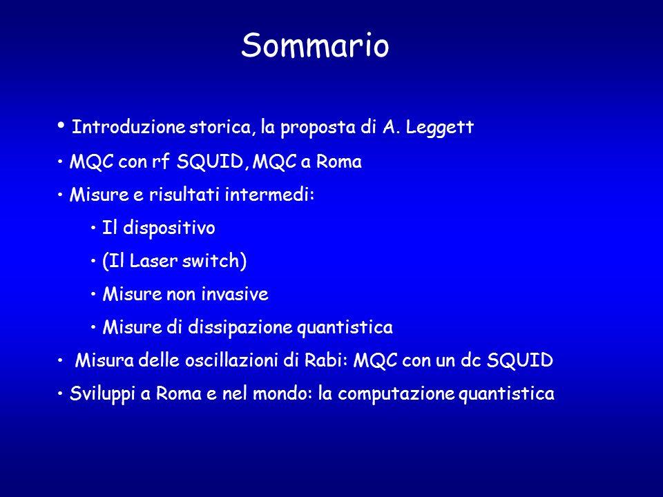 Sommario Introduzione storica, la proposta di A. Leggett MQC con rf SQUID, MQC a Roma Misure e risultati intermedi: Il dispositivo (Il Laser switch) M