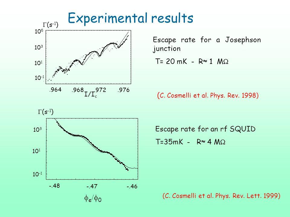 e 0 -.46-.47 -.48 Escape rate for a Josephson junction T= 20 mK - R 1 M Escape rate for an rf SQUID T=35mK - R 4 M 10 3 10 1 10 -1 (s -1 ) Experimenta