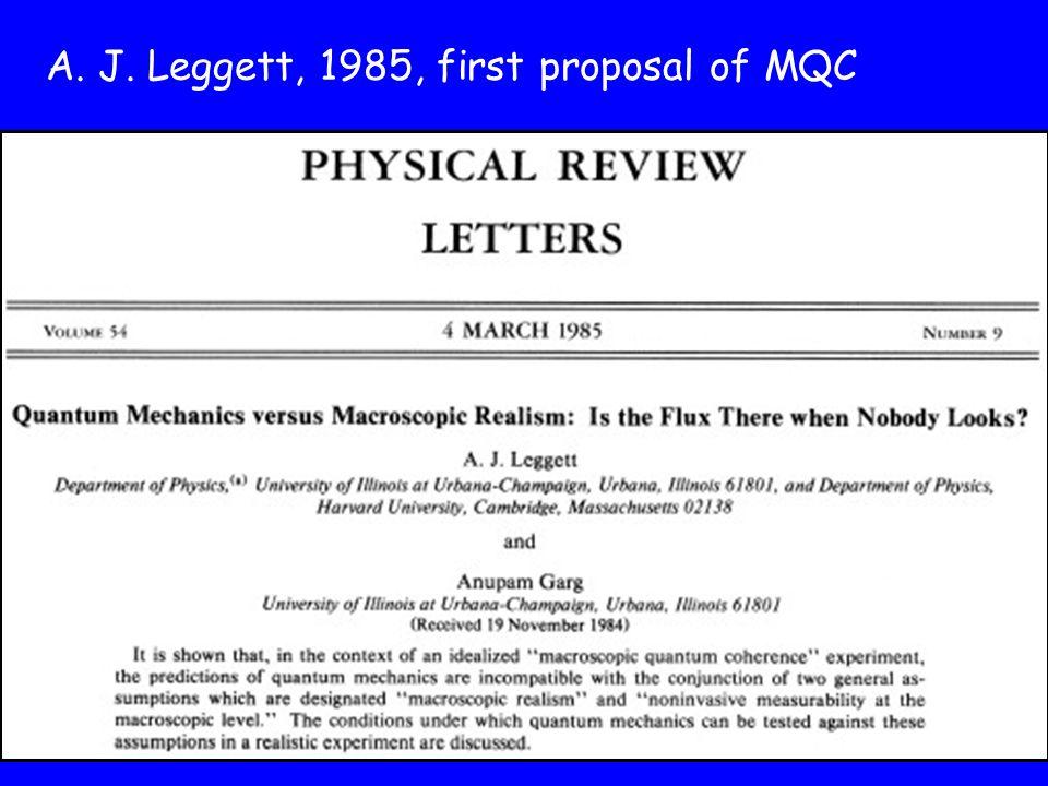 A. J. Leggett, 1985, first proposal of MQC
