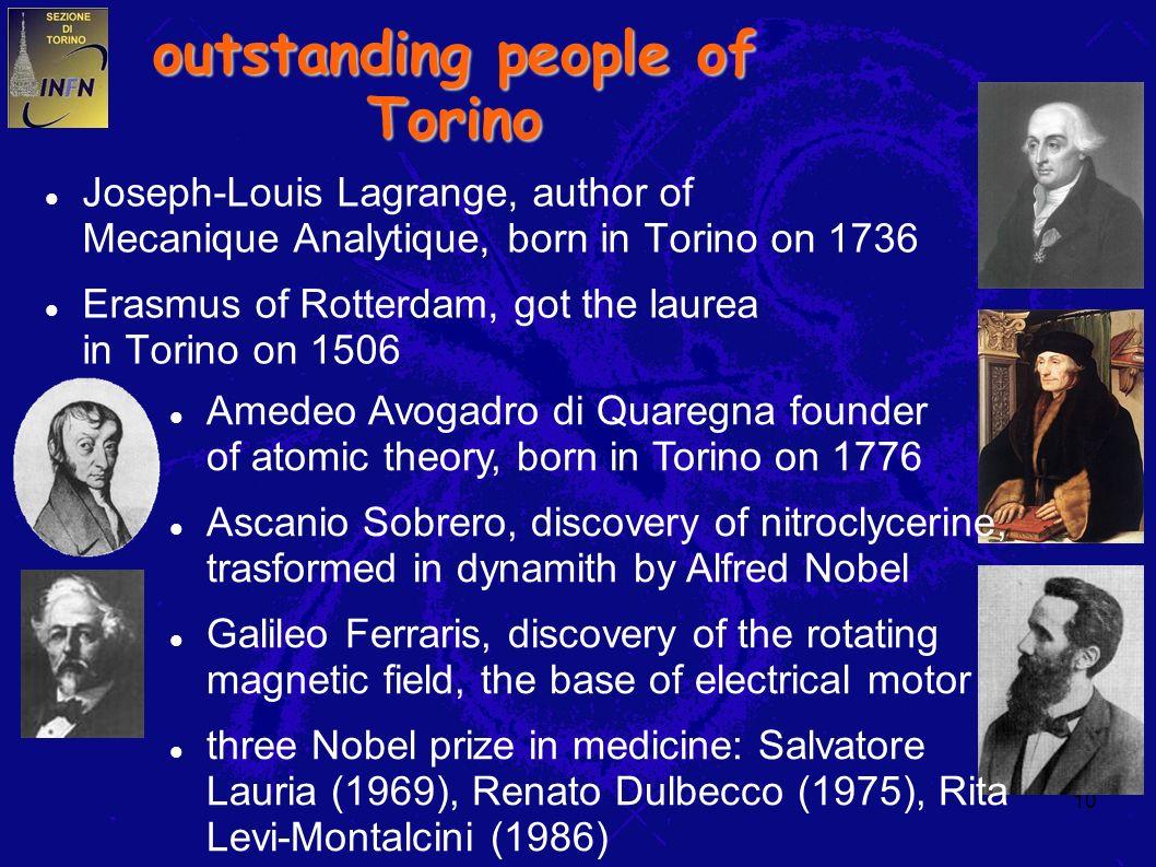 10 outstanding people of Torino Joseph-Louis Lagrange, author of Mecanique Analytique, born in Torino on 1736 Erasmus of Rotterdam, got the laurea in