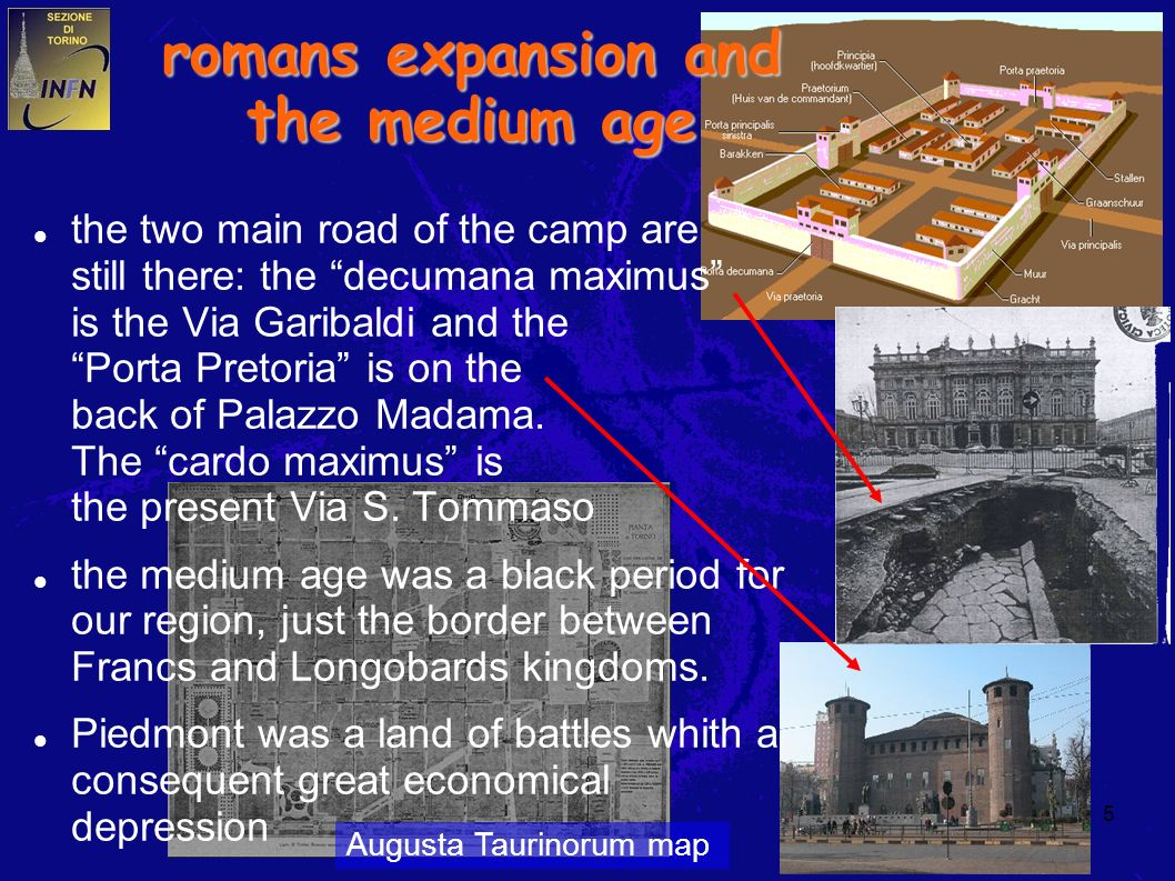 5 the two main road of the camp are still there: the decumana maximus is the Via Garibaldi and the Porta Pretoria is on the back of Palazzo Madama. Th