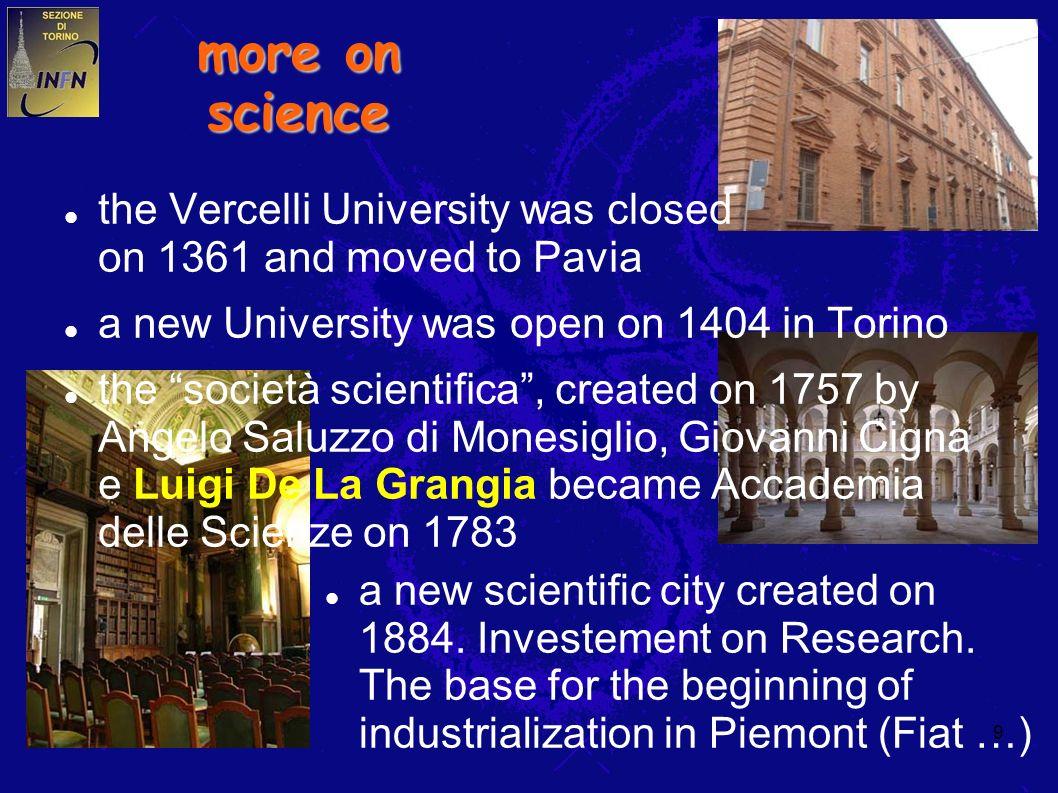 9 more on science the Vercelli University was closed on 1361 and moved to Pavia a new University was open on 1404 in Torino the società scientifica, created on 1757 by Angelo Saluzzo di Monesiglio, Giovanni Cigna e Luigi De La Grangia became Accademia delle Scienze on 1783 a new scientific city created on 1884.