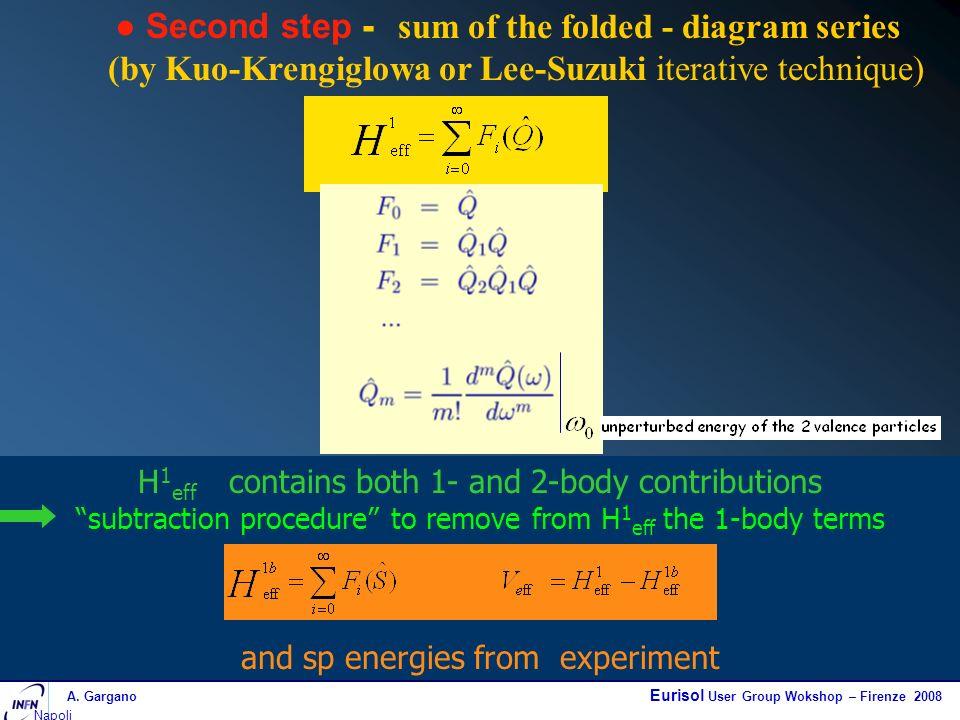 A. Gargano Eurisol User Group Wokshop – Firenze 2008 Napoli Second step - sum of the folded - diagram series (by Kuo-Krengiglowa or Lee-Suzuki iterati