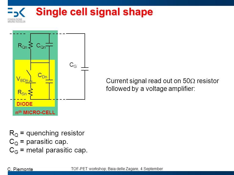 TOF-PET workshop, Baia delle Zagare, 4 September C. Piemonte Single cell signal shape C Dn R Sn V BDn R Qn DIODE C Qn CGCG n th MICRO-CELL R Q = quenc