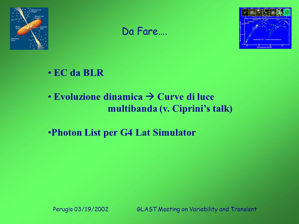 Perugia 03/19/2002GLAST Meeting on Variability and Transient Da Fare….