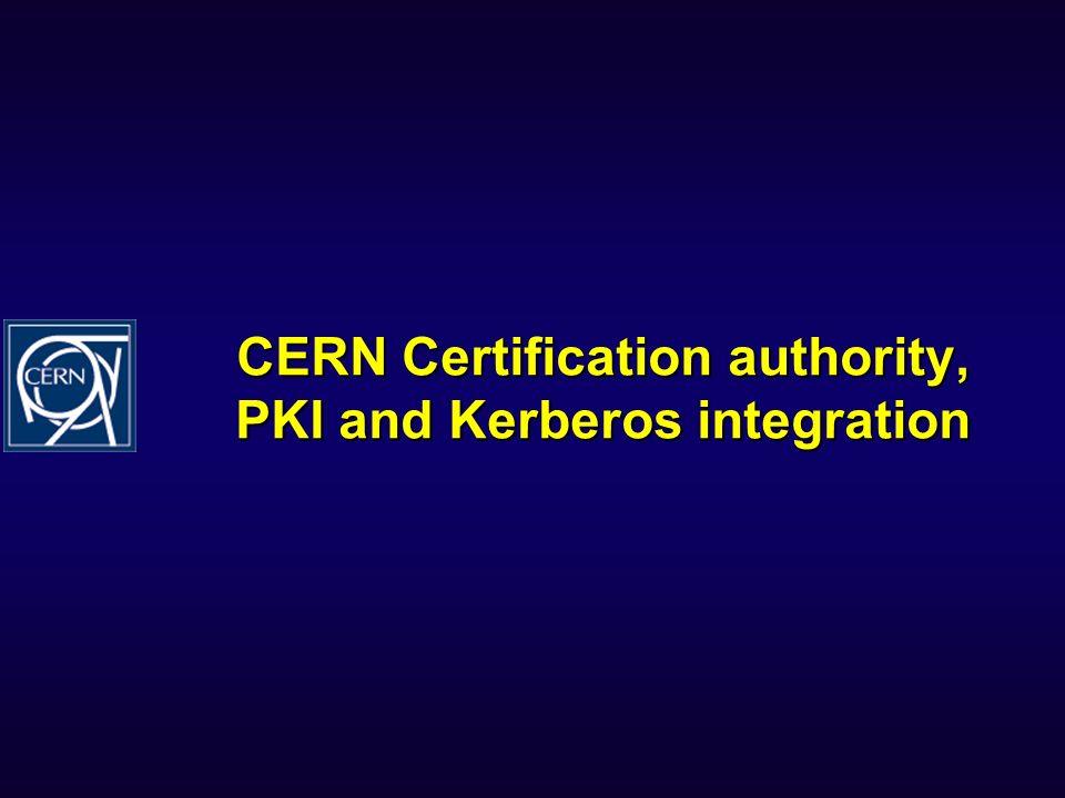 CERN Certification authority, PKI and Kerberos integration
