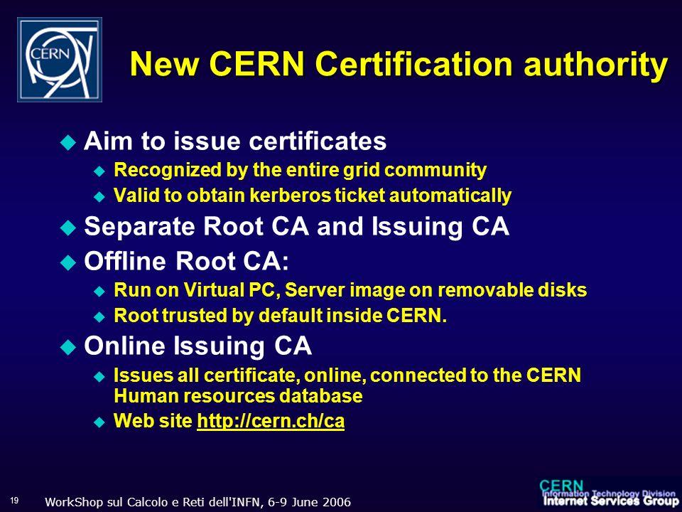 WorkShop sul Calcolo e Reti dell'INFN, 6-9 June 2006 19 New CERN Certification authority Aim to issue certificates Recognized by the entire grid commu