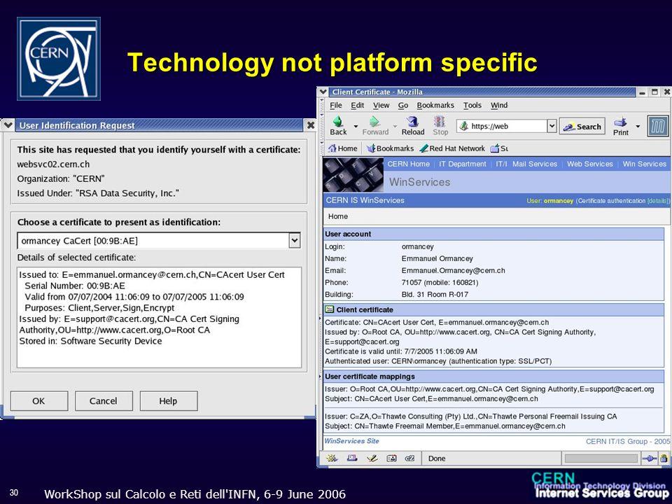 WorkShop sul Calcolo e Reti dell'INFN, 6-9 June 2006 30 Technology not platform specific