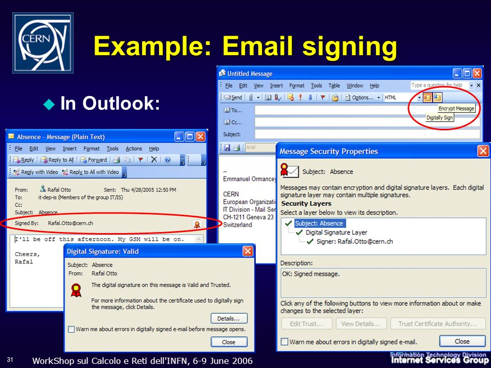 WorkShop sul Calcolo e Reti dell'INFN, 6-9 June 2006 31 Example: Email signing In Outlook: