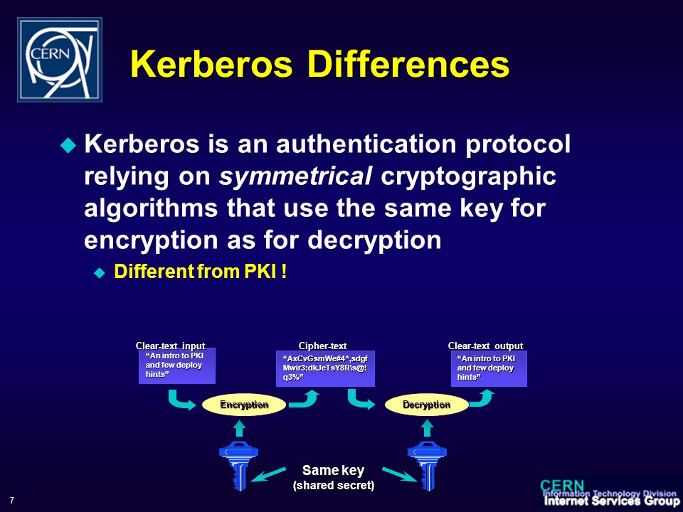 WorkShop sul Calcolo e Reti dell INFN, 6-9 June 2006 7 Kerberos Differences Kerberos is an authentication protocol relying on symmetrical cryptographic algorithms that use the same key for encryption as for decryption Different from PKI .