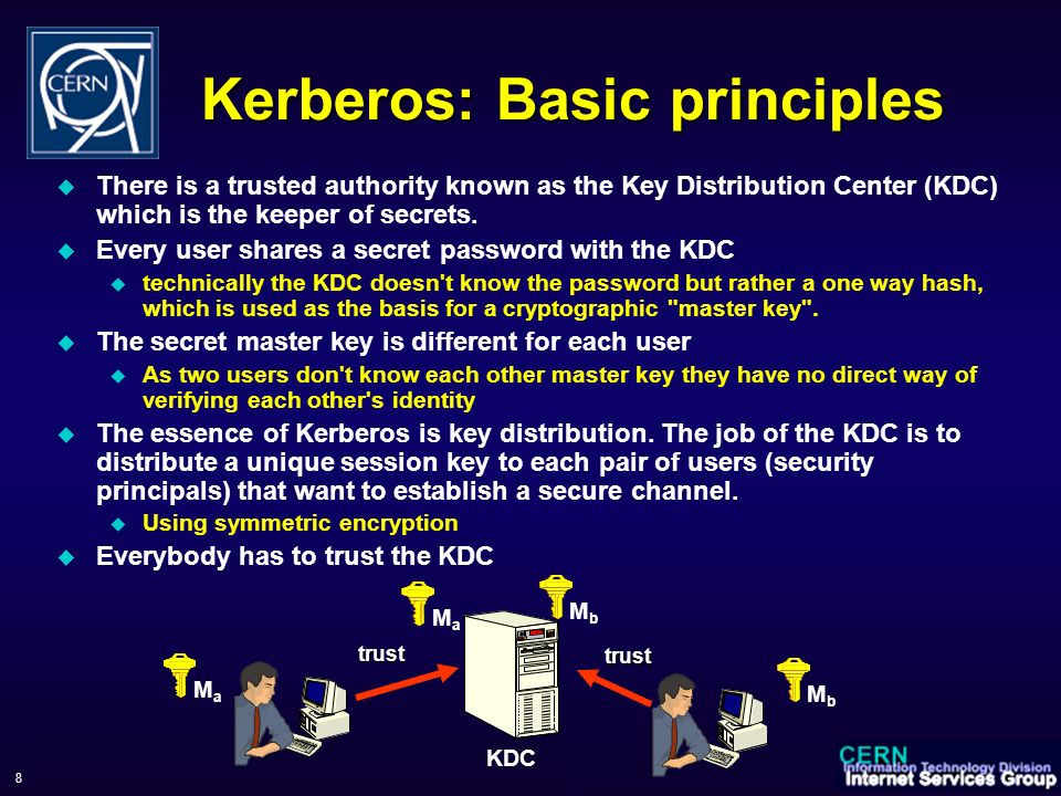 WorkShop sul Calcolo e Reti dell INFN, 6-9 June 2006 8 Kerberos: Basic principles There is a trusted authority known as the Key Distribution Center (KDC) which is the keeper of secrets.