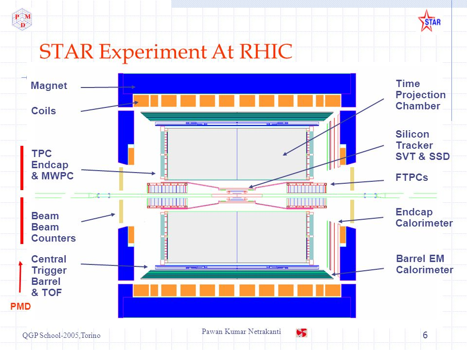 QGP School-2005,Torino Pawan Kumar Netrakanti 6 Barrel EM Calorimeter FTPCs Time Projection Chamber Silicon Tracker SVT & SSD Endcap Calorimeter Magne