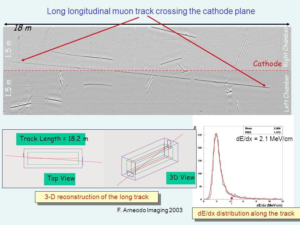 F. Arneodo Imaging 2003 18 m 1.5 m Left Chamber Right Chamber Cathode Long longitudinal muon track crossing the cathode plane Track Length = 18.2 m 3D