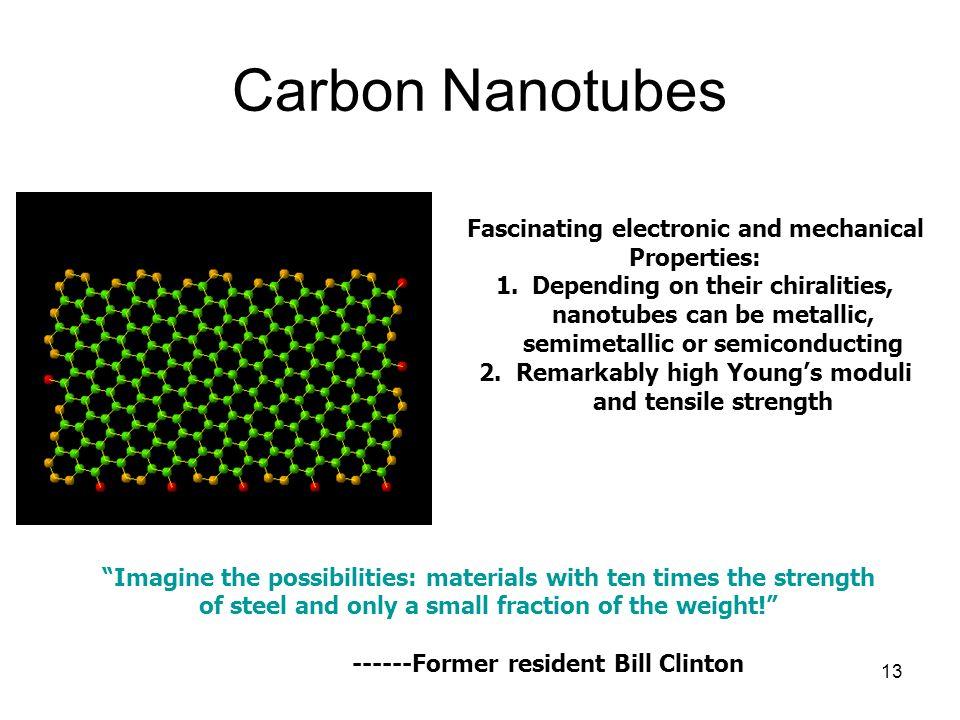 13 Carbon Nanotubes Fascinating electronic and mechanical Properties: 1.Depending on their chiralities, nanotubes can be metallic, semimetallic or semiconducting 2.