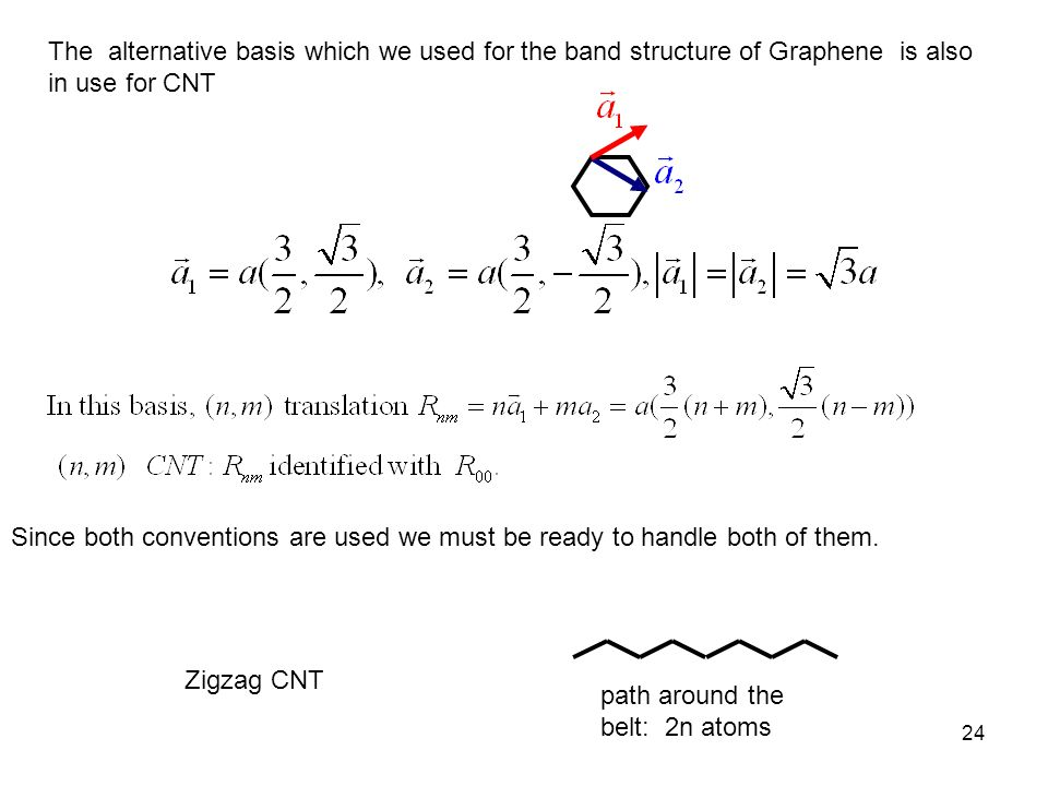 24 The alternative basis which we used for the band structure of Graphene is also in use for CNT Since both conventions are used we must be ready to h