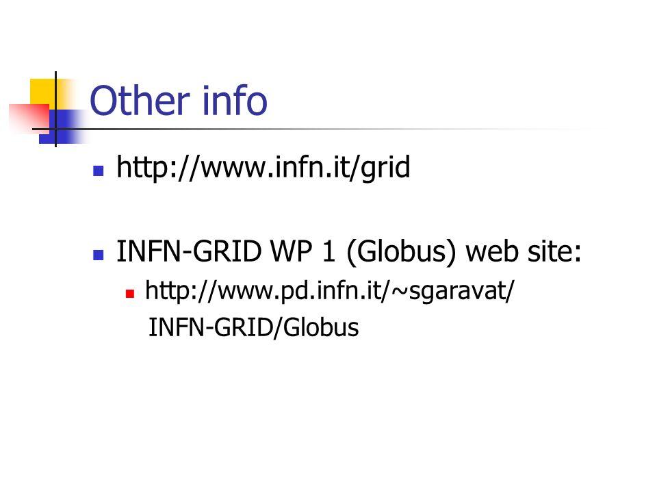 Other info http://www.infn.it/grid INFN-GRID WP 1 (Globus) web site: http://www.pd.infn.it/~sgaravat/ INFN-GRID/Globus