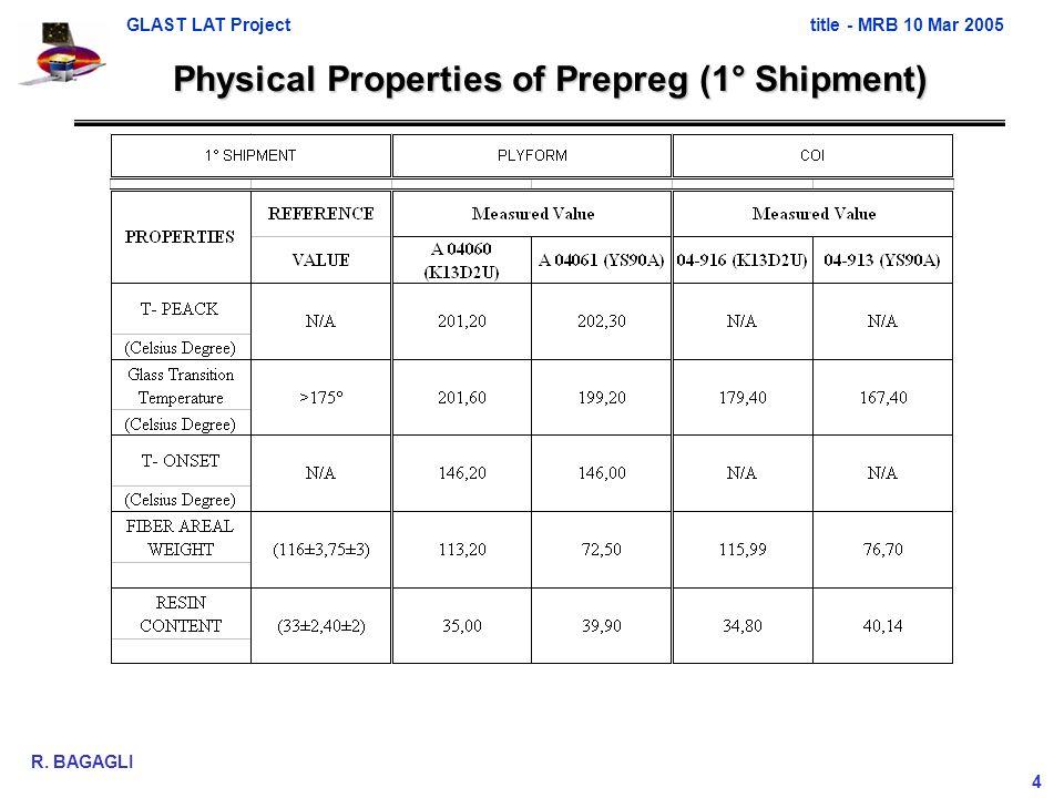 GLAST LAT Projecttitle - MRB 10 Mar 2005 R. BAGAGLI 4 Physical Properties of Prepreg (1° Shipment)