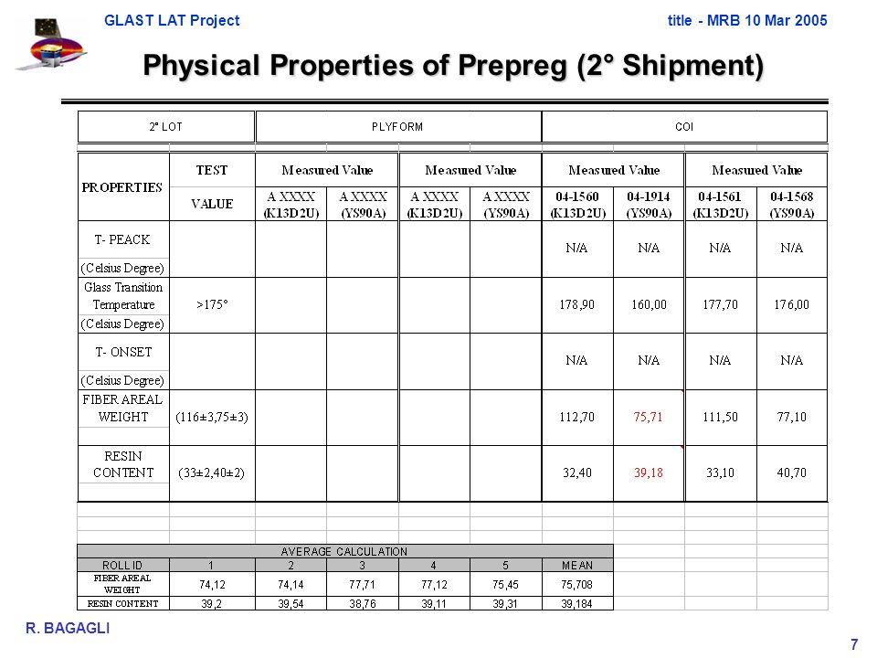 GLAST LAT Projecttitle - MRB 10 Mar 2005 R. BAGAGLI 7 Physical Properties of Prepreg (2° Shipment)