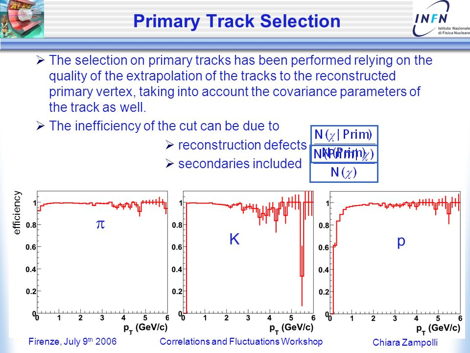 Firenze, July 9 th 2006Correlations and Fluctuations Workshop Chiara Zampolli ALICE PID Approach Weaker momentum dependence of the efficiency (contamination) Efficiency (contamination) higher (lower) or at least equal than with stand- alone detectors Weaker momentum dependence of the efficiency (contamination) Efficiency (contamination) higher (lower) or at least equal than with stand- alone detectors A common BAYESIAN approach is adopted by every ALICE detector performing PID; The probability w(i s) to be a particle of type i (i = e,,,...) if a signal s (dE/dx, TOF,...) is detected, is: r(s i) conditional pdf to get a PID signal s in a detector, if a particle of type i is detected C i a priori probability to find a particle of type i in the detector Combined PID combining (multiplying) the r(s i) from different dets