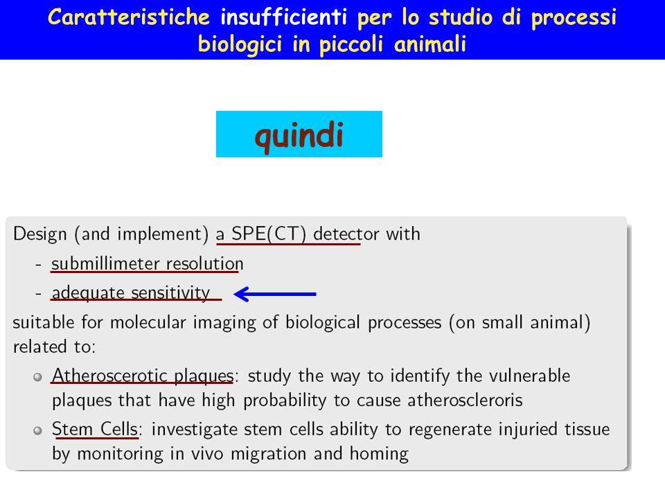 Caratteristiche insufficienti per lo studio di processi biologici in piccoli animali quindi