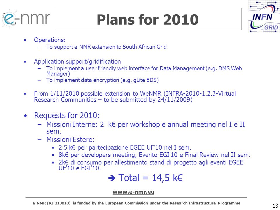 e-NMR (RI ) is funded by the European Commission under the Research Infrastructure Programme   13 Plans for 2010 Operations: –To support e-NMR extension to South African Grid Application support/gridification –To implement a user friendly web interface for Data Management (e.g.