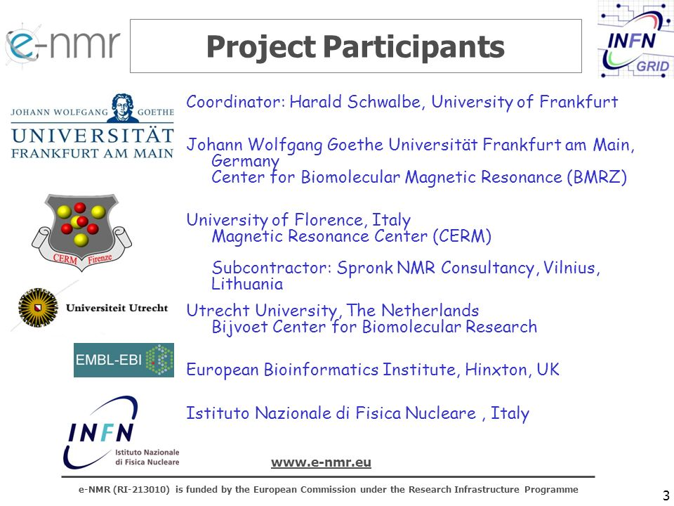 e-NMR (RI-213010) is funded by the European Commission under the Research Infrastructure Programme www.e-nmr.eu 4 Objectives Deploy and support an interoperable Grid infrastructure at the three NMR infrastructures to be later integrated with EGEE Assess the state-of-the-art in computational bio-NMR and promote knowledge and spreading of best computational practices Identify and promote a sustainable NMR technical framework for e-Science Develop an integrated e-NMR computational platform