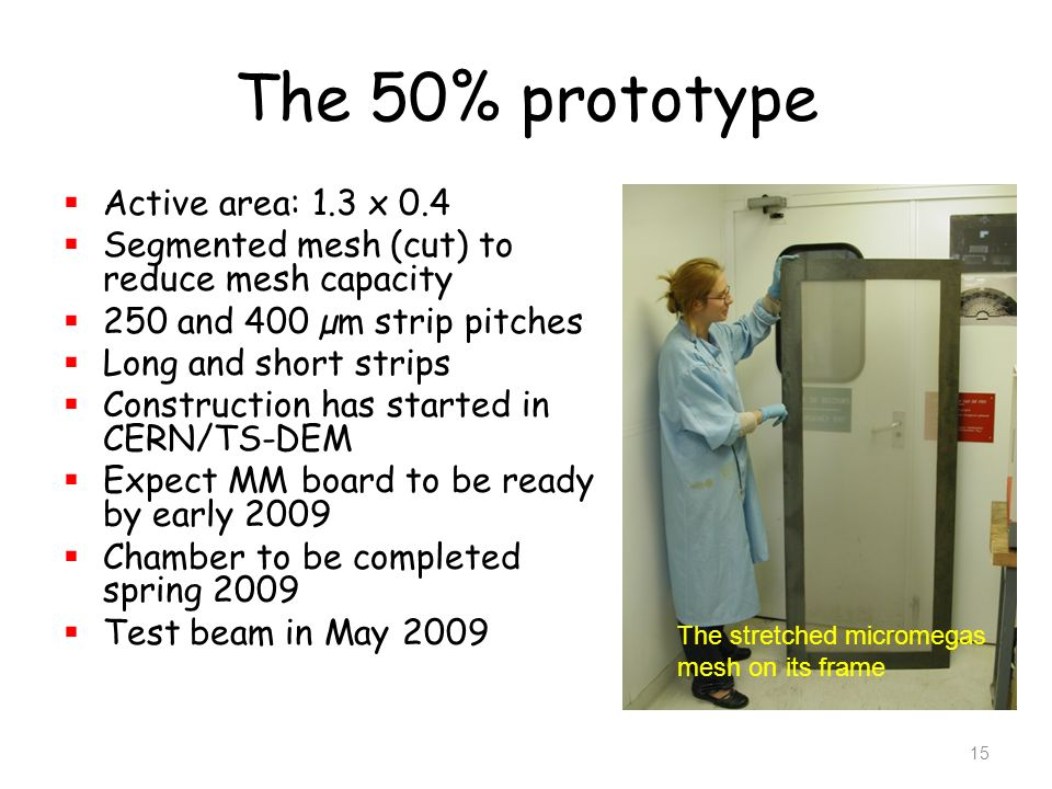 The 50% prototype Active area: 1.3 x 0.4 Segmented mesh (cut) to reduce mesh capacity 250 and 400 µm strip pitches Long and short strips Construction