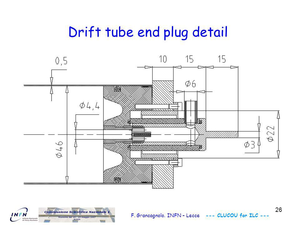 26 F. Grancagnolo. INFN – Lecce --- CLUCOU for ILC --- Drift tube end plug detail