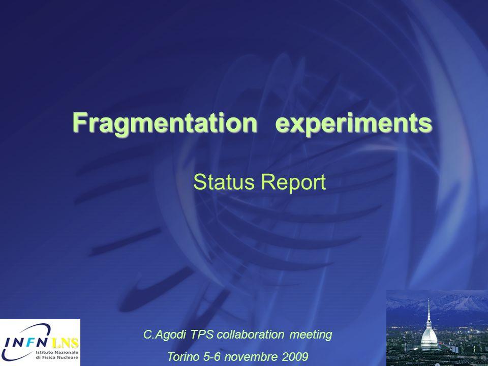 Fragmentation experiments Fragmentation experiments LNS LNS Status Report C.Agodi TPS collaboration meeting Torino 5-6 novembre 2009