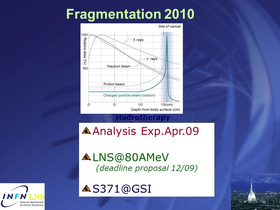 Hadrotherapy Analysis Exp.Apr.09 LNS@80AMeV (deadline proposal 12/09) S371@GSI Fragmentation 2010 LNS LNS