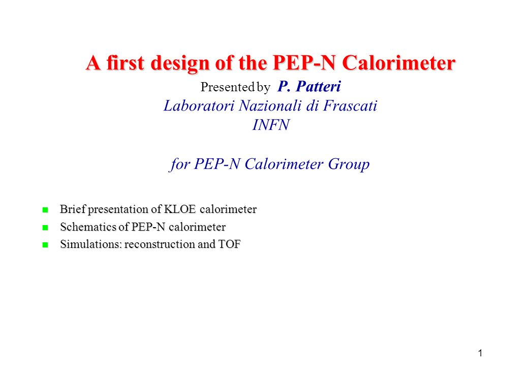 1 A first design of the PEP-N Calorimeter A first design of the PEP-N Calorimeter Presented by P.