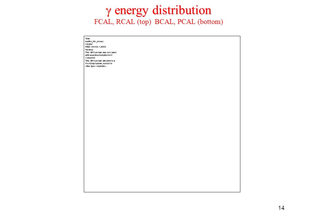 14 energy distribution FCAL, RCAL (top) BCAL, PCAL (bottom) energy distribution FCAL, RCAL (top) BCAL, PCAL (bottom)