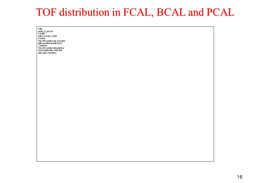 16 TOF distribution in FCAL, BCAL and PCAL