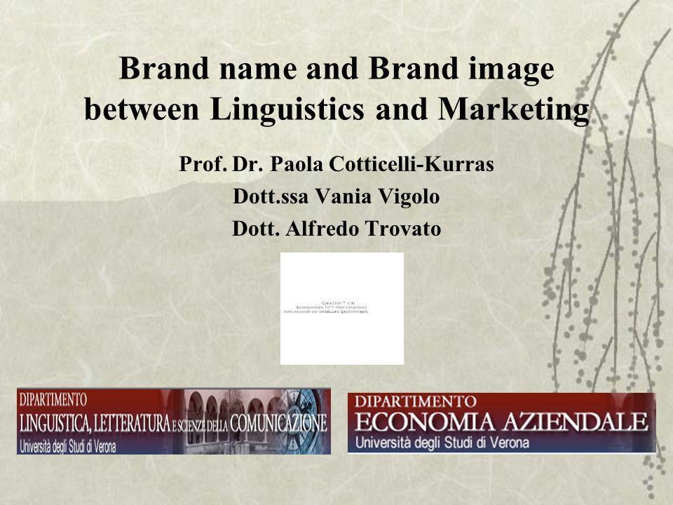 Brand name and Brand image between Linguistics and Marketing Prof. Dr. Paola Cotticelli-Kurras Dott.ssa Vania Vigolo Dott. Alfredo Trovato